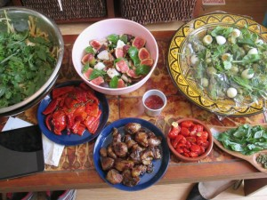 5 Salads and BBQ Pizza toppings are ready to go...